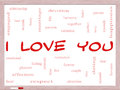 I love you word cloud concept on a whiteboard with great terms such as valentine lovers kiss romance and more Stock Photography