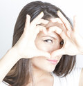 I love you young woman making heart with her hands Royalty Free Stock Photography