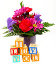 I Luv You with Flowers Stock Image