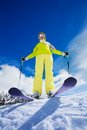 I m the coolest skier happy young woman stand on top of mountain and ready to go downhill Royalty Free Stock Photos