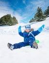 I'm so happy with snow otside Royalty Free Stock Photo