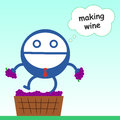 I m making wine a business man with grapes is Royalty Free Stock Image