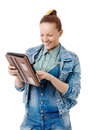 I m online portrait of a young woman with a tablet computer in the hands of Royalty Free Stock Photography