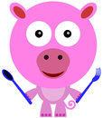 I m ready to eat illustration of a cute pig holding a spoon and fork Stock Images