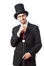 I m rich and i know it a businessman with a cigar wearing a top hat carryng a walking stick Stock Photos