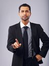 I m warning you businessman pointing his finger and Stock Image
