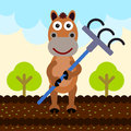 I am plowing a humorous illustration of a horse holding a rake Stock Photography