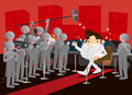 I am popular illustration of a man walking on a red carpet and welcomed by his supporters Royalty Free Stock Image