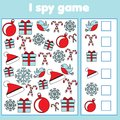 I spy game for toddlers. Find and count objects. Counting educational children activity. Christmas and new year holidays theme
