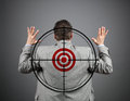 I surrender businessman surrendering with crosshair and target on his back Royalty Free Stock Photos