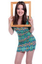 I ve been framed model holding picture frame over her head Stock Photos