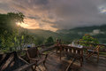 I waiting for sunrise from balcony at Chiang dao mountain , Chiang mai , Thailand Royalty Free Stock Photo