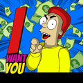 I want you cartoon style illustrated man pointing at with text Royalty Free Stock Photos