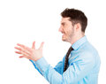 I will strangle you closeup side view profile portrait of angry man with hands in air to someone isolated on white background Royalty Free Stock Photo