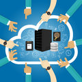 IaaS Infrastructure as a service shared hosting hardware in the cloud storage database server  virtualization Royalty Free Stock Photo