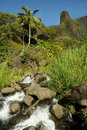 Iao Needle from downstream, Maui Hawaii Stock Images