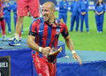 Iasmin latovlevici of steaua bucharest full of beer pictured after a a bath after the romanian supercup between bucharesta and Stock Images