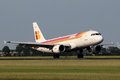 Iberia airbus a amsterdam july lands at ams airport in netherlands on july is the flag carrier and largest airline of spain Stock Photo