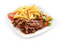 Iberian pork loin steak with mushroom sauce Royalty Free Stock Photo