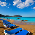 Ibiza aigues blanques aguas blancas beach at santa eulalia balearic islands of spain Royalty Free Stock Images
