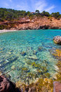 Ibiza cala moli beach with clear water in balearics balearic islands san jose Royalty Free Stock Photography