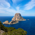 Ibiza es vedra and vedranell from torre des savinar sant josep in balearic islands Royalty Free Stock Photos