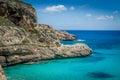 Ibiza rocky coast eivissa island shore and beautiful bay baleares spain Royalty Free Stock Photography