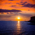 Ibiza san antonio abad de portmany sunset in balearic islands of spain Royalty Free Stock Photography