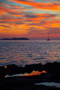 Ibiza san antonio abad de portmany sunset with in balearic islands of spain Stock Images