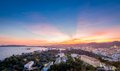 Ibiza sunset island after landscape view from dalt vila fortress spain Royalty Free Stock Photography
