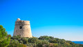 Ibiza tower sa sal rosa defense used to protect against pirates located in the natural park of ses salines Stock Image