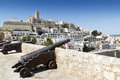 Ibiza town cathedral and old balearic islands spain Stock Image