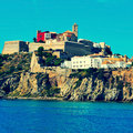 Ibiza town in ibiza island balearic islands spain view of sa penya district and dalt vila district the old of with a retro effect Stock Image