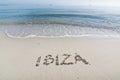 Ibiza written in sand Royalty Free Stock Photo