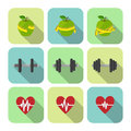 Ic nes de progrès d exercices de sport de forme physique réglées Photo libre de droits