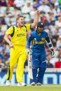 Icc champions trophy sri lanka and australia london england june s james faulkner appeals for the wicket of s angelo mathews not Stock Photo