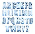Ice Alphabet. Isolated on white. Real photos of frozen letters Royalty Free Stock Photo