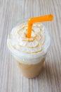 Ice blend caramel coffee closeup top view Royalty Free Stock Photos