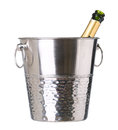 Ice bucket with champagne bottle isolated on white Royalty Free Stock Photo