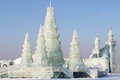 Ice buildings in sunny daylight in harbin china with blue sky Stock Image