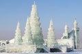 Ice buildings in sunny daylight in Harbin China