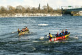 Ice canoe challenge bota bota montreal on the st lawrence river Royalty Free Stock Photo