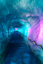 Ice cave in mer de glacer glacier chamonix france colorful icy corridor digged inside glace mont blanc massif Stock Images