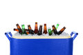 Ice chest full of beer bottles closeup an and assorted horizontal format on white Stock Photos