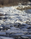 Ice chunks at dewey pond in vermont Stock Photography