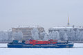 Ice class tugboat on neva river in st petersburg russia jan nevskaya zastava outpost spite of icebreaker functions it can put Royalty Free Stock Photography