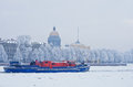 Ice class tugboat on neva river in st petersburg russia jan nevskaya zastava outpost spite of icebreaker functions it can put Royalty Free Stock Photo