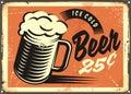 Ice Cold Beer retro pub sign