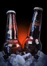 Ice cold class beer bottles on black two glass are wet with water drops with a isolated background for a bar or party concept Stock Photos
