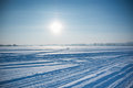 Ice cold desert sun and winter's day in Siberia Royalty Free Stock Photo